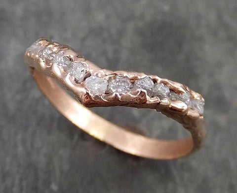 Raw Rough Uncut Diamond Contour Curved Wedding Band rose 14k Gold Wedding Ring C0528 - Gemstone ring by Angeline