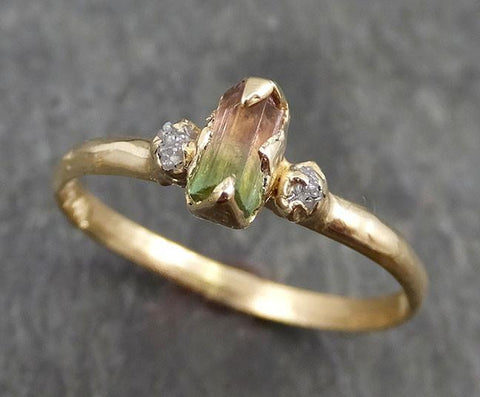 Raw Bi-Color Tourmaline Dainty Diamond 14k yellow Gold Multi stone Engagement Ring Wedding Ring One Of a Kind Gemstone Ring Bespoke Three stone Ring 0529 - Gemstone ring by Angeline