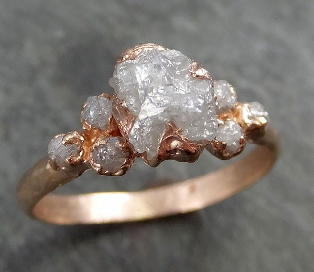 Raw Diamond Rose gold Engagement Ring Rough Gold Multi stone Wedding Ring diamond Wedding Ring Rough Diamond Ring byAngeline 0531 - Gemstone ring by Angeline
