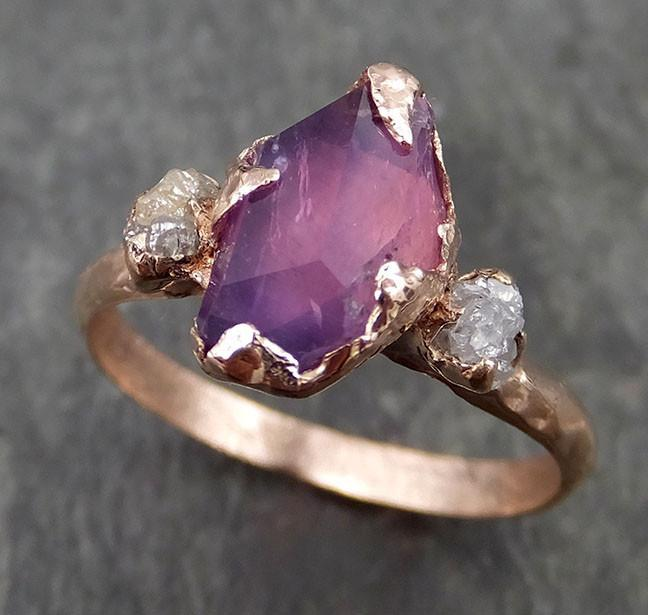 Partially faceted Raw Sapphire Diamond 14k rose Gold Engagement Ring Wedding Ring Custom One Of a Kind Violet Gemstone Ring Three stone Ring 0532 - Gemstone ring by Angeline