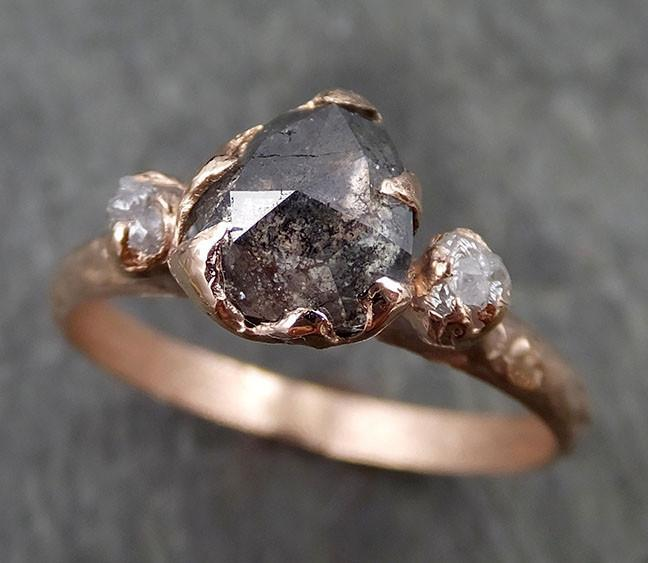Fancy cut salt and pepper Diamond Engagement 14k Rose Gold Multi stone Wedding Ring Stacking Rough Diamond Ring byAngeline 0533 - Gemstone ring by Angeline