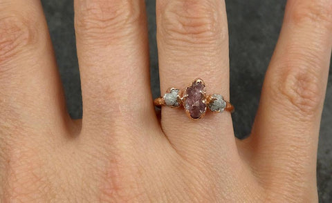 Raw Sapphire Diamond Gold Engagement Ring Multi stone Wedding Ring Custom One Of a Kind Pink Gemstone Ring Three stone Ring 0534 - Gemstone ring by Angeline