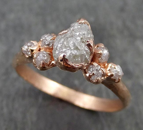 Raw Diamond Rose gold Engagement Ring Rough Gold Multi stone Wedding Ring diamond Wedding Ring Rough Diamond Ring byAngeline 0536 - Gemstone ring by Angeline