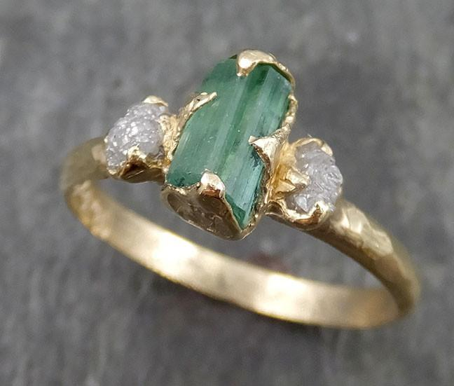 Sea Green Tourmaline Diamond Multi stone Yellow Gold Ring Rough Uncut Gemstone tourmaline recycled 14k Engagement Wedding Ring 0539 - Gemstone ring by Angeline