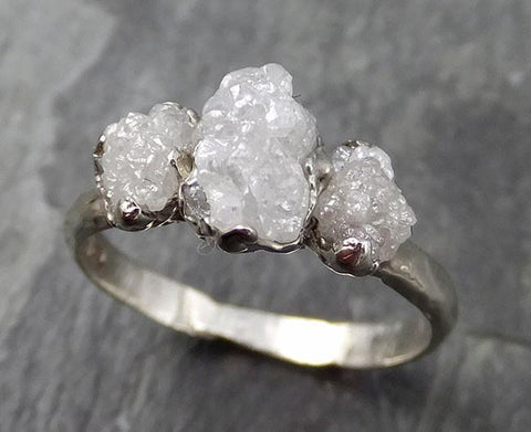 Raw Rough Diamond Engagement Stacking ring Multi stone Wedding anniversary White Gold 14k Rustic byAngeline 0541 - Gemstone ring by Angeline