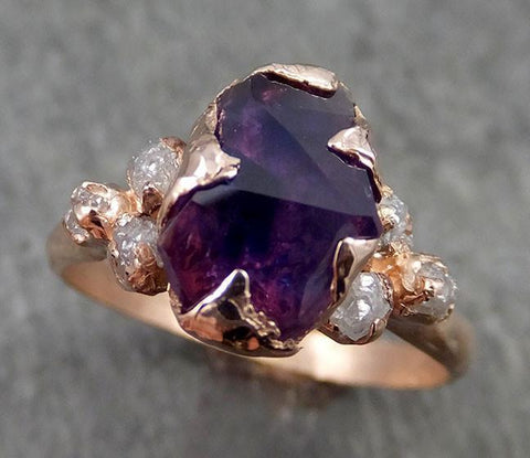 Partially faceted Raw Sapphire Diamond 14k rose Gold Engagement Ring Wedding Ring Custom One Of a Kind Violet Gemstone Ring Three stone Ring 0542 - Gemstone ring by Angeline