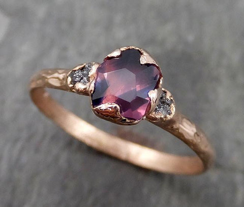Partially faceted Raw Sapphire Diamond 14k rose Gold Engagement Ring Wedding Ring Custom One Of a Kind Violet Gemstone Ring Three stone Ring 0543 - Gemstone ring by Angeline