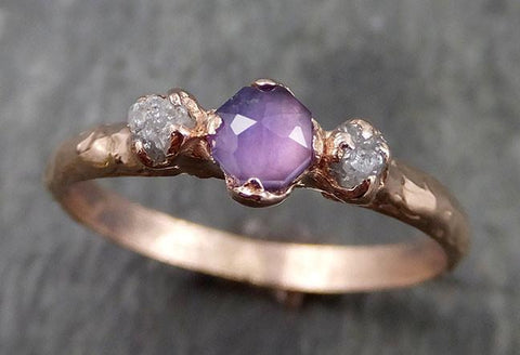 Partially faceted Raw Sapphire Diamond 14k rose Gold Dainty Engagement Ring Wedding Ring Custom One Of a Kind Gemstone Ring Three stone Ring 0544 - Gemstone ring by Angeline