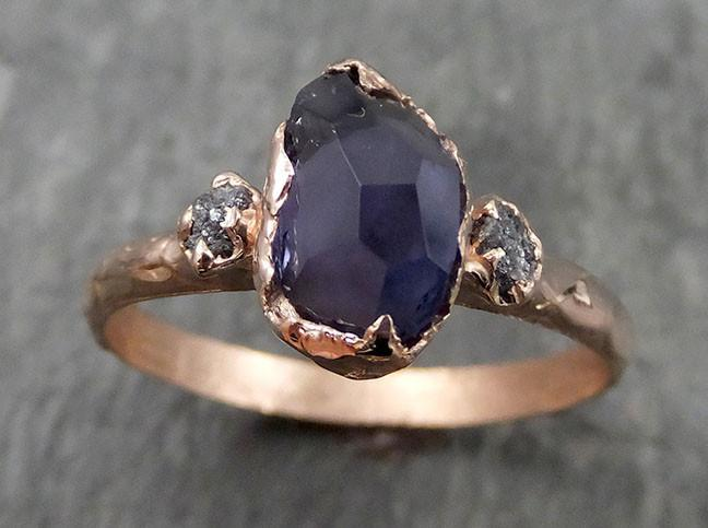 Partially faceted color change Garnet Diamond 14k rose Gold Engagement Ring Wedding Ring Custom One Of a Kind Violet Gemstone Ring Multi stone Ring 0545 - Gemstone ring by Angeline