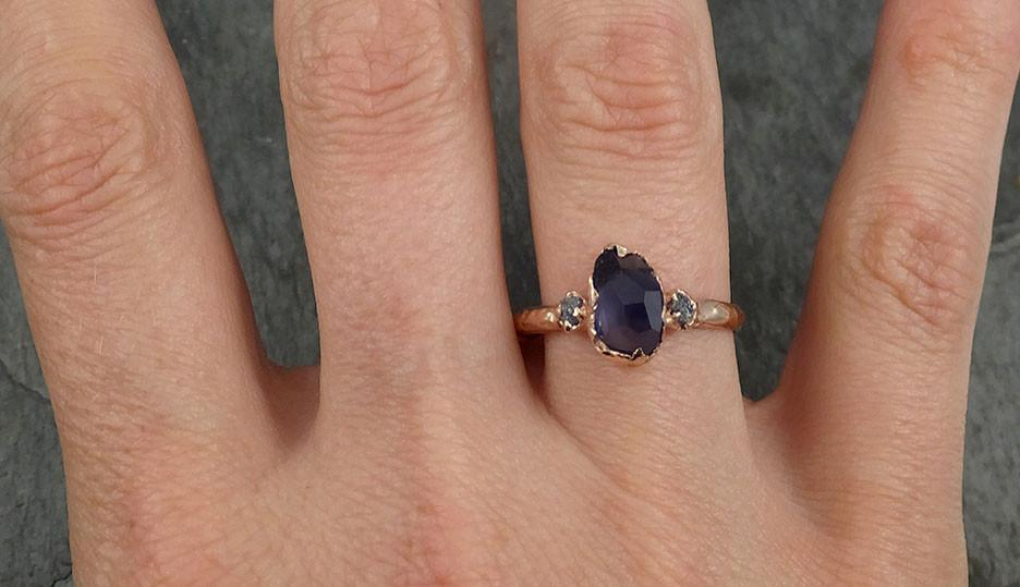 Partially Faceted Color Change Garnet Diamond 14k Rose Gold Engagement By Angeline