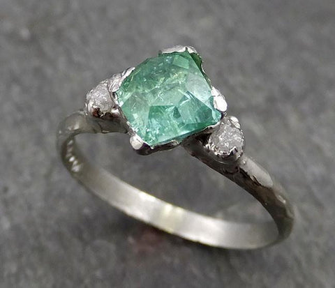 Partially faceted sea green Tourmaline 18k white Gold Engagement Ring One Of a Kind multi stone Gemstone Ring byAngeline 0549 - Gemstone ring by Angeline