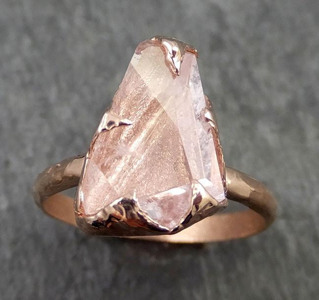 Raw Rough and partially Faceted Pink Topaz 14k rose Gold Ring One Of a Kind Gemstone Ring Recycled gold byAngeline 0550 - Gemstone ring by Angeline