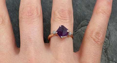 Partially faceted Raw Sapphire Diamond 14k rose Gold Engagement Ring Wedding Ring Custom One Of a Kind Violet Gemstone Ring Three stone Ring 0552 - Gemstone ring by Angeline