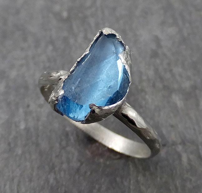 Partially faceted Blue Topaz 18k White Gold Engagement Solitaire Ring Wedding Ring One Of a Kind Gemstone Ring 0553 - Gemstone ring by Angeline