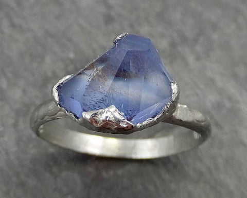 Partially Faceted Sapphire Solitaire 18k white Gold Engagement Ring Wedding Ring Custom One Of a Kind Gemstone Ring 0554 - Gemstone ring by Angeline