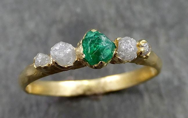 Raw Rough Emerald Conflict Free Diamonds 18k yellow Gold Ring One Of a Kind Gemstone Multi stone Engagement Wedding Ring Recycled gold 0555 - Gemstone ring by Angeline