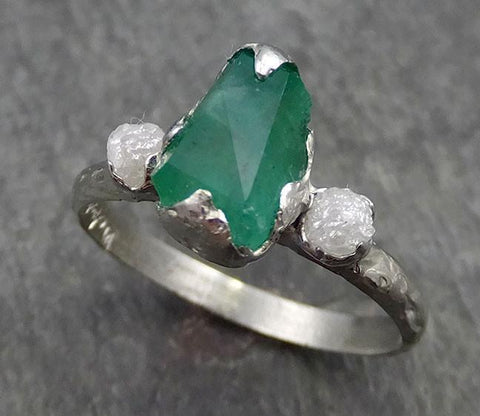 Partially faceted Emerald and Diamond Gemstone Engagement Ring 18k Gold Multi stone Wedding Ring Uncut Birthstone Stacking Ring Rough Diamond Ring byAngeline 0556 - Gemstone ring by Angeline
