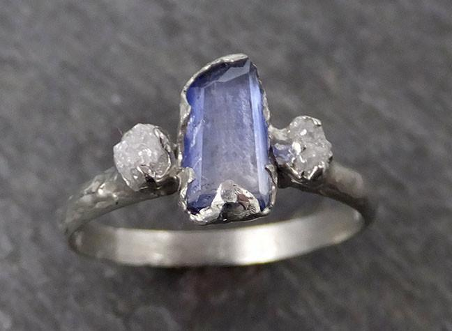 Partially faceted Blue Tanzanite Diamond 18k White Gold Engagement Ring Wedding Ring One Of a Kind Gemstone Ring Three stone Ring 0557 - Gemstone ring by Angeline