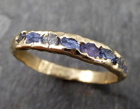 Raw diamond and Sapphires men's or women's Wedding Band Custom One Of a Kind Blue Montana Gemstone Ring Multi stone Ring byAngeline 0558 - Gemstone ring by Angeline