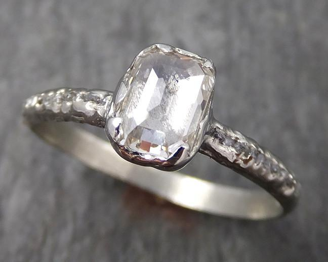 faceted champagne Diamond Engagement 18k White Gold Multi stone Wedding Ring Rough Diamond Ring byAngeline 0561 - Gemstone ring by Angeline