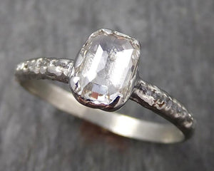 Fancy cut white/champagne Diamond Engagement 18k White Gold Multi stone Wedding Ring Rough Diamond Ring byAngeline 0561