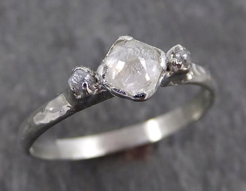Faceted Fancy cut white Diamond Engagement 18k White Gold Multi stone Wedding Ring Rough Diamond Ring byAngeline 0564 - Gemstone ring by Angeline
