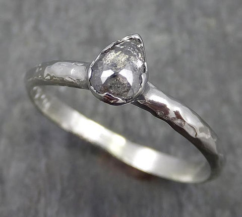 Fancy cut Diamond Solitaire Engagement 18k White Gold Wedding Ring byAngeline 0566 - Gemstone ring by Angeline