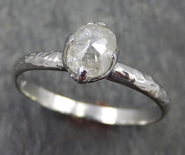 Faceted Fancy cut white Diamond Solitaire Engagement 18k White Gold Wedding Ring byAngeline 0567 - Gemstone ring by Angeline