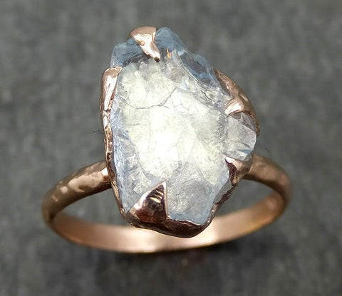 uncut Aquamarine Solitaire Ring Custom One Of a Kind Gemstone Ring Bespoke byAngeline 0571 - Gemstone ring by Angeline
