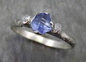 Dainty Naturally faceted Sapphire Raw Rough Diamond 18k white Gold Engagement Ring Wedding Ring Custom One Of a Kind Gemstone Three stone Ring byAngeline 0572