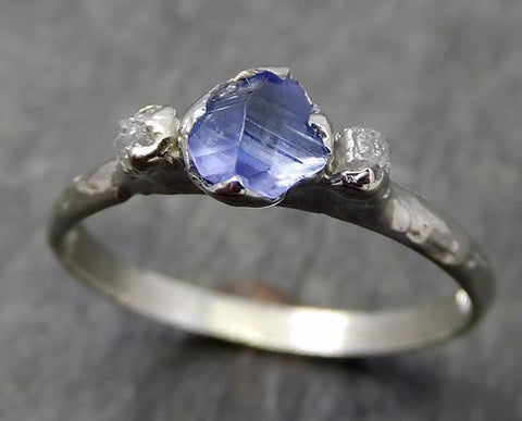 Naturally faceted Sapphire Raw Rough Diamond 18k white Gold Engagement Ring Wedding Ring Custom One Of a Kind Gemstone Three stone Ring byAngeline 0572 - Gemstone ring by Angeline