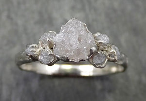Rough Grey Diamond Engagement Ring Raw 18k White Gold Wedding Ring diamond Multi stone Rough Diamond Ring C0573