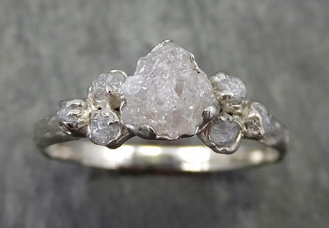 Rough Grey Diamond Engagement Ring Raw 18k White Gold Wedding Ring diamond Multi stone Rough Diamond Ring C0573 - Gemstone ring by Angeline