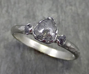 Fancy cut salt and pepper Diamond Engagement 18k White Gold Multi stone Wedding Ring Rough Diamond Ring byAngeline 0574