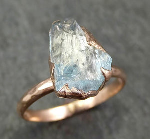 Aquamarine Solitaire Ring rose gold Custom One Of a Kind Gemstone Ring Bespoke byAngeline 0579