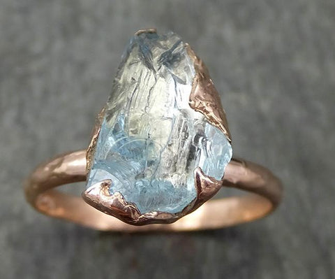 Aquamarine Solitaire Ring rose gold Custom One Of a Kind Gemstone Ring Bespoke byAngeline 0579 - Gemstone ring by Angeline