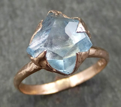 Partially faceted Aquamarine Solitaire Ring rose gold Custom One Of a Kind Gemstone Ring Bespoke byAngeline 0580 - Gemstone ring by Angeline