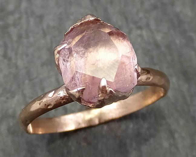 Partially Faceted Pink Topaz 14k rose Gold Ring One Of a Kind Gemstone Ring Recycled gold byAngeline 0581 - Gemstone ring by Angeline
