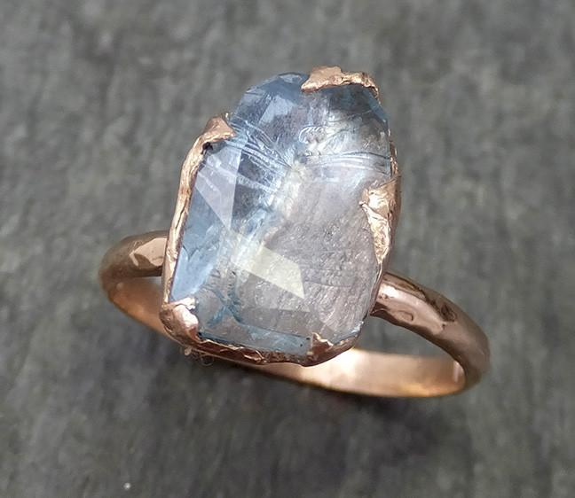 Partially faceted Aquamarine Solitaire Ring rose 14k gold Custom One Of a Kind Gemstone Ring Bespoke byAngeline 0583 - Gemstone ring by Angeline