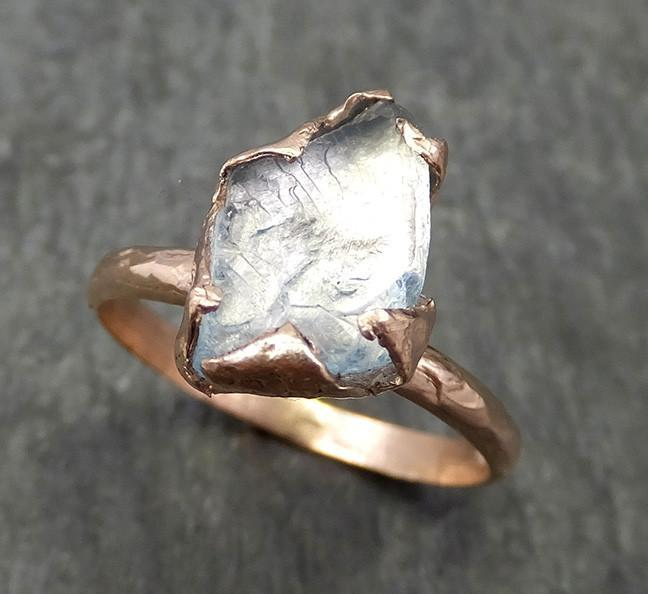 Aquamarine Solitaire Ring rose gold Custom One Of a Kind Gemstone Ring Bespoke byAngeline 0584 - Gemstone ring by Angeline