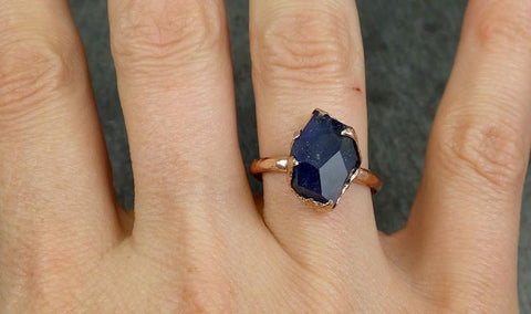 Partially Faceted Sapphire Solitaire 14k rose Gold Engagement Ring Wedding Ring Custom One Of a Kind Gemstone Ring 0585 - Gemstone ring by Angeline