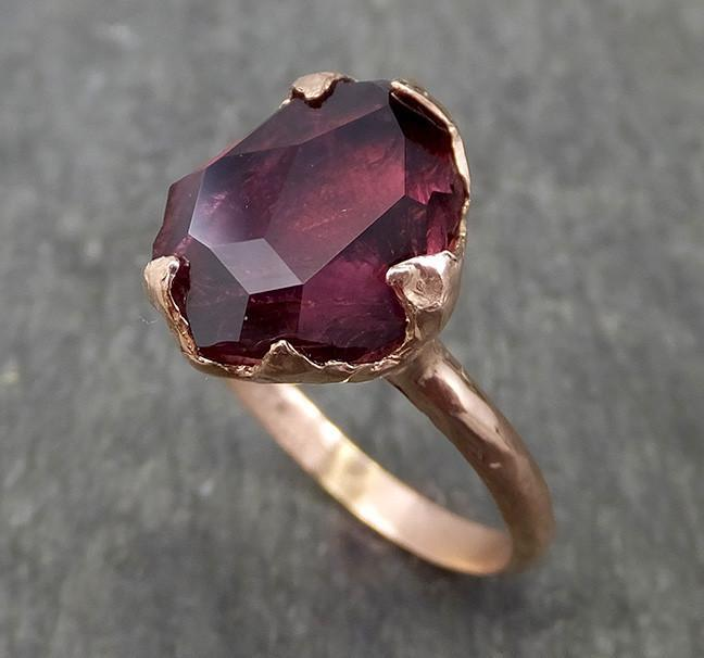 Partially faceted Natural Pink Pyrope Garnet Gemstone solitaire ring Recycled 14k Gold One of a kind Gemstone ring 0586 - Gemstone ring by Angeline