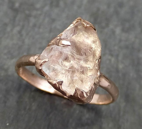 Raw Rough Morganite Diamond 14k Rose gold solitaire Pink Gemstone Cocktail Ring Statement Ring Raw gemstone Jewelry by Angeline 0587 - Gemstone ring by Angeline