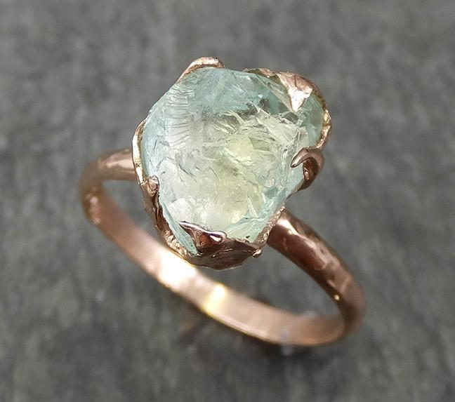Raw Rough aquamarine Diamond 14k Rose gold solitaire blue Gemstone Cocktail Ring Statement Ring Raw gemstone Jewelry by Angeline 0589 - Gemstone ring by Angeline