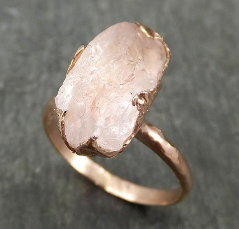 Raw Rough Morganite 14k Rose gold solitaire Pink Gemstone Cocktail Ring Statement Ring Raw gemstone Jewelry by Angeline 0590 - Gemstone ring by Angeline