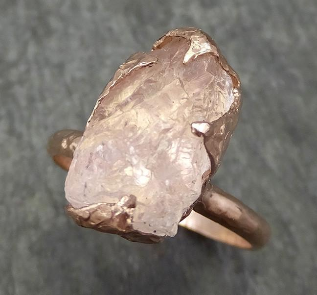 Raw Rough Morganite Diamond 14k Rose gold solitaire Pink Gemstone Cocktail Ring Statement Ring Raw gemstone Jewelry by Angeline 0591 - Gemstone ring by Angeline