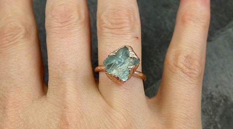 Raw uncut Aquamarine Solitaire Ring Custom One Of a Kind Gemstone Ring Bespoke byAngeline 0593 - Gemstone ring by Angeline