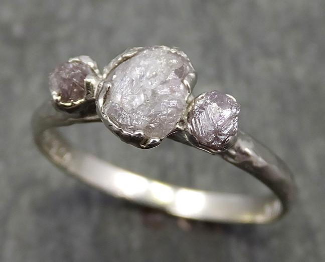 Rough Pink Grey Diamond Engagement Ring Raw 14k White Gold Wedding Ring diamond Multi stone Rough Diamond Ring 0601 - Gemstone ring by Angeline