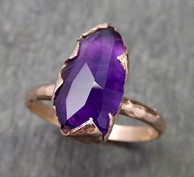 Partially Faceted Amethyst Solitaire Ring Statement ring Custom One Of a Kind Gemstone Ring Bespoke byAngeline 0604 - Gemstone ring by Angeline