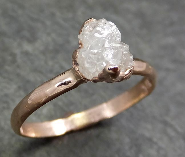 Raw Diamond Solitaire Engagement Ring Rough 14k rose Gold Wedding Ring diamond Stacking Ring Rough Diamond Ring byAngeline 0608 - Gemstone ring by Angeline